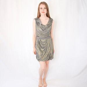ALL SAINTS Gray Gold Ruched Mini Dress 0131